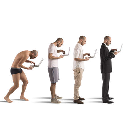 Evolution from hunched man to successful man photo