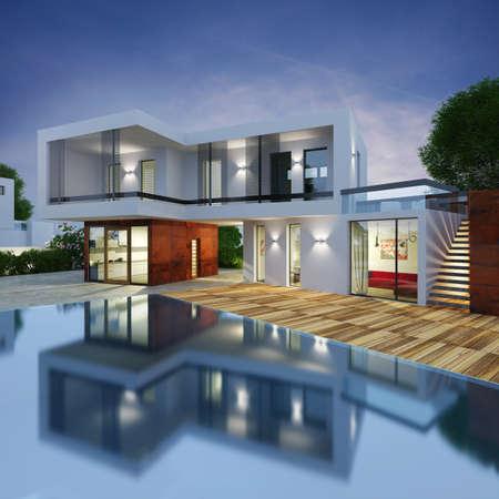 fachada: Proyecto de una villa de lujo en 3d Foto de archivo