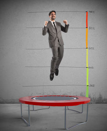 increasingly: Man jumps on a trampoline increasingly top Stock Photo
