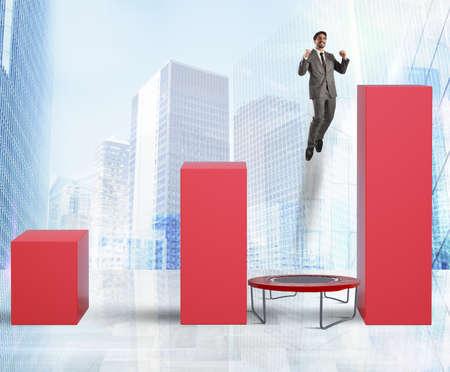 increasingly: Man jumps between statistics on the trampoline