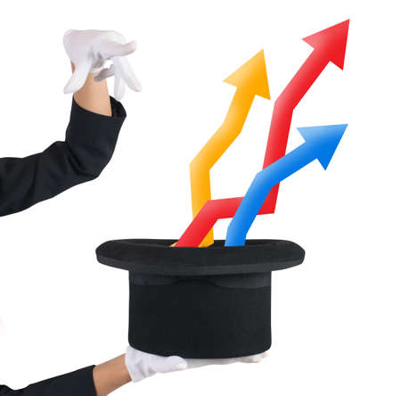 exits: Sorceress exits from hat arrows and graphs Stock Photo