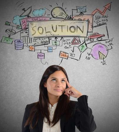 interrogativa: El pensamiento de negocios sobre un plan de soluci�n de trabajo Foto de archivo