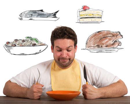 Hombre hambriento piensa sobre qué comer