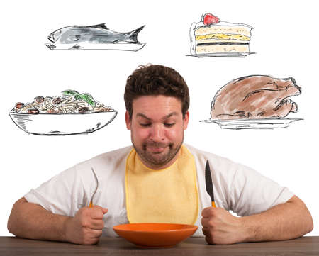 what to eat: Hungry man thinks about what to eat Stock Photo