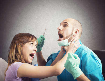 cure prevention: Angry girl patient choke her afraid dentist