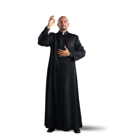 catholic church: Priest is a blessing to the faithful Stock Photo