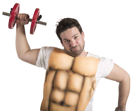 men body: Ironic fat man does gym with abs