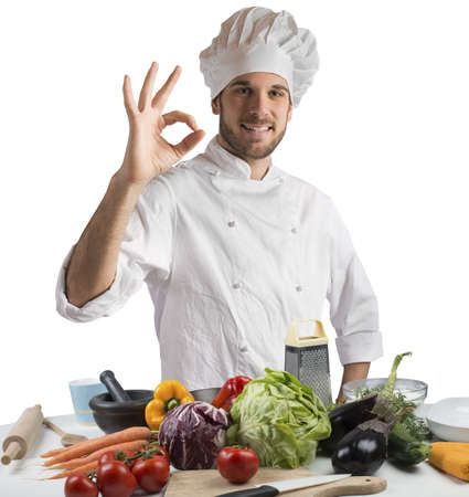 promotes: Confident and expert chef promotes his cuisine Stock Photo