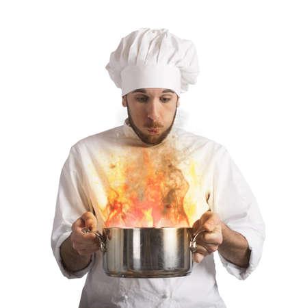 extinguish: Chef blowing his burnt food in pot