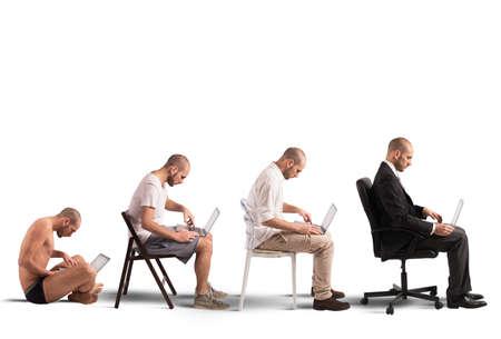 Concept of evolution and success of a businessman 版權商用圖片 - 41457795
