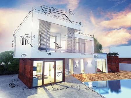 materiales de construccion: Proyecto de una villa de lujo en construcci�n Foto de archivo