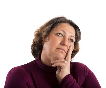 preguntando: Retrato de una mujer que piensa en problemas Foto de archivo