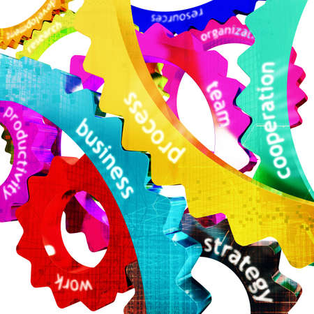 merging together: Concept of work as joint between gear Stock Photo