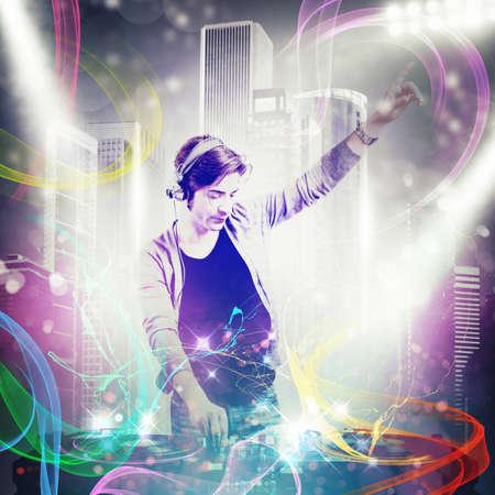 dj boy: Boy dj mixes the music at party