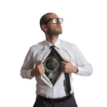 undress: Businessman becomes a super hero of gear Stock Photo