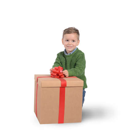 received: Child happy to have received a gift Stock Photo