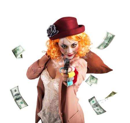 recite: Clever thief clown thief steals money loot Stock Photo