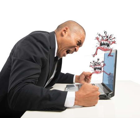 breakdown: Businessman pissed because of his computer crashed