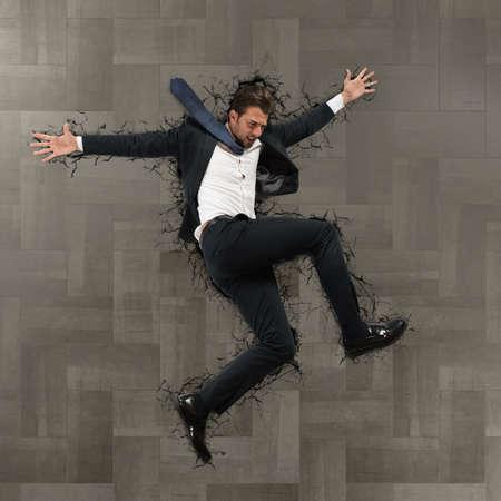 breaks: Man falls from above breaks the floor