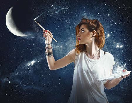 star night: Girl paints the moon and the stars