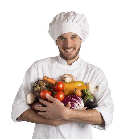 jefe de cocina: Chef especializado en vegetariana con verduras frescas