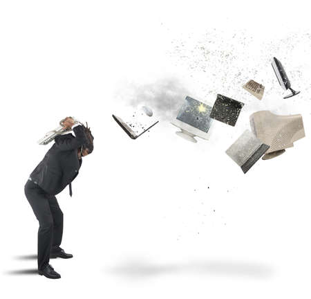 Businessman overloaded and stressed out from work