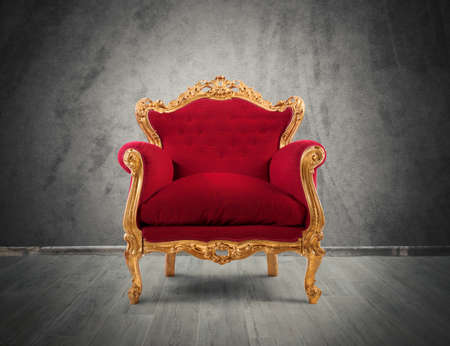 baroque room: Concept of luxury and success with red velvet and gold armchair