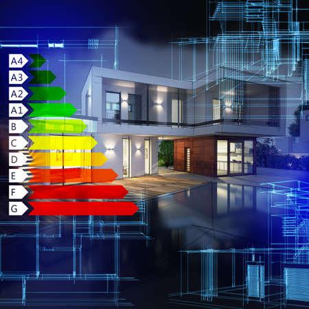 eficiencia energetica: Imagen de una certificación energética gráfico villa Foto de archivo