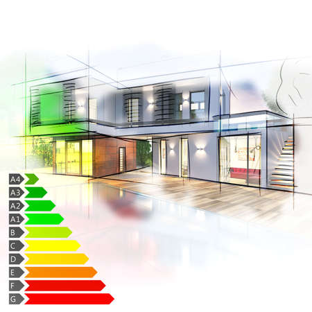 energy consumption: Image of a villa graph energy certification