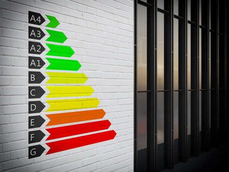 eficiencia: Imagen de una certificación de clase energética gráfico Foto de archivo