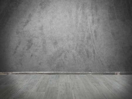 グランジ背景灰色の壁と寄木細工の床