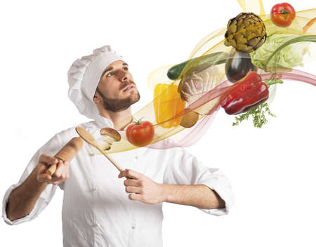Creative chef plays a harmony of food Stock Photo