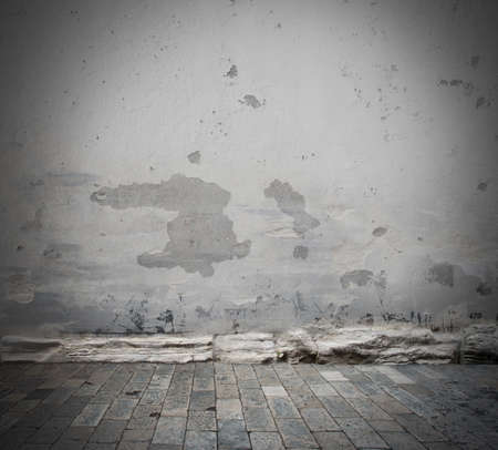 Background with grey damaged wall and floor