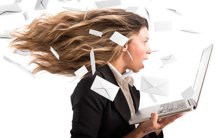 Girl covered with a wind of email
