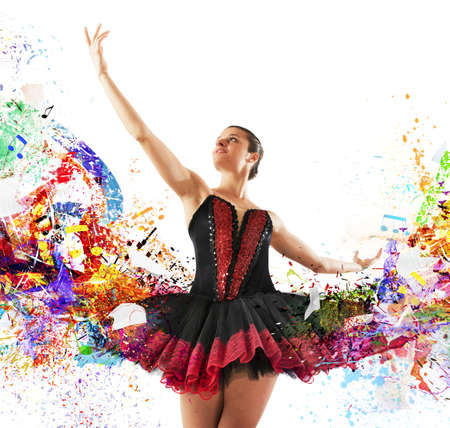 Classical dancer between colours and musical notes