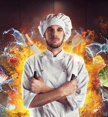Chef-kok met messen tussen water en vuur Stockfoto