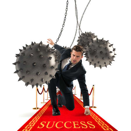Businessman overcomes obstacles and reach the success 版權商用圖片
