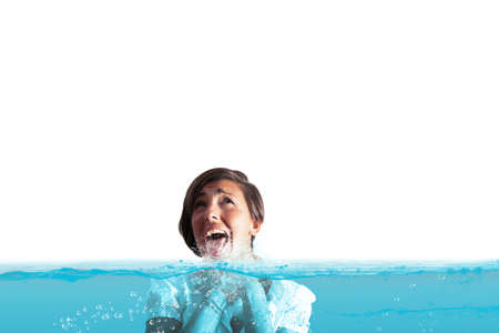 Businesswoman with the water in the throat Stock Photo