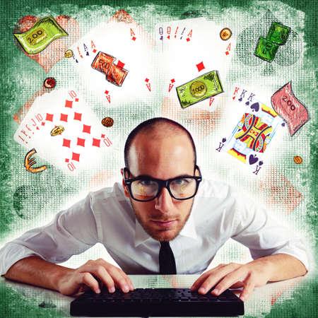 debt goals: Man plays poker online on the computer