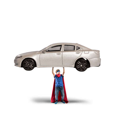 Superhero can lift a car with powers
