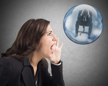preoccupation: Woman yelling to man inside a bubble