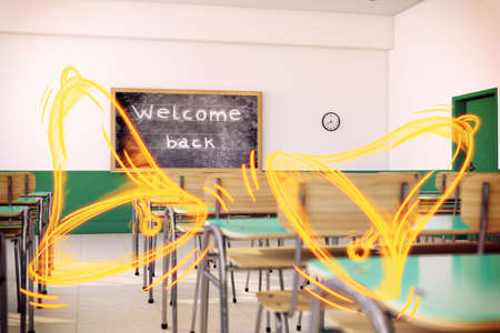 Yellow bells in a school class empty Stock Photo