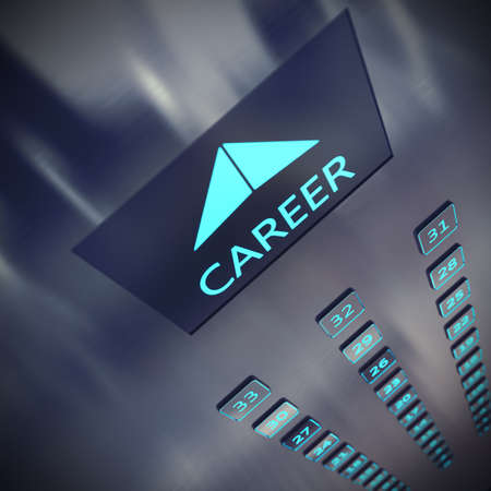 rise to the top: Image of an elevator with written career