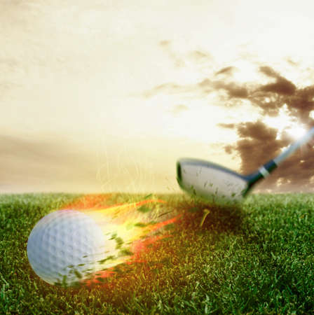 Fire ball hit by a golf club Imagens