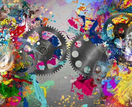 conjunction: Gears on background of colorful splash painting Stock Photo