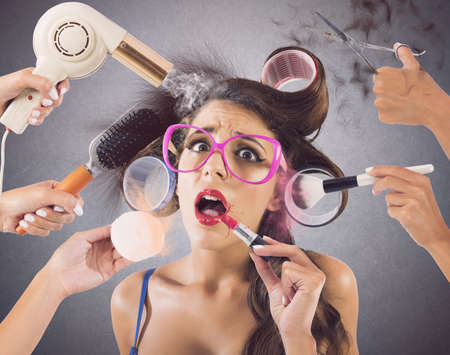stress woman: Girl stressed by hands that wear makeup Stock Photo