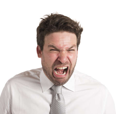 loudly: Pissed man screams loudly for his failure