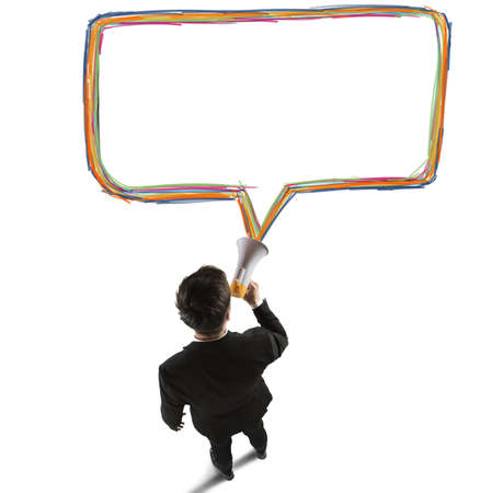 reproach: Businessman speaks and shares messages with megaphone Stock Photo