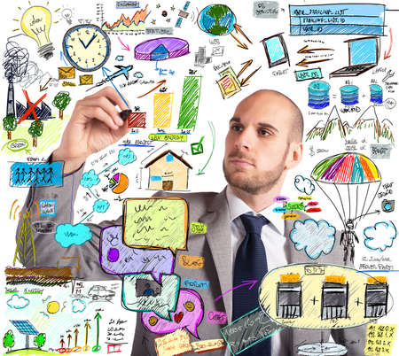 ingenious: Businessman design an ingenious ecological improvement plan Stock Photo