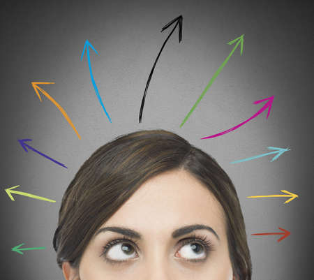 indecision: Woman look up with arrows above head
